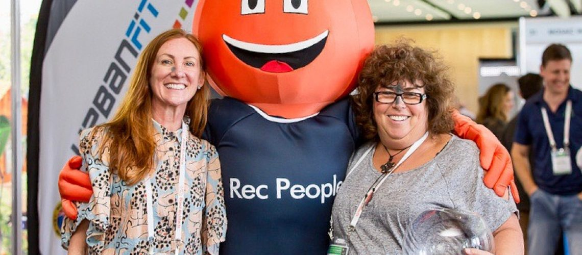Rec People mascot with Mandy Nolton